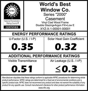 NFRC pencere değerlendirme etiketi